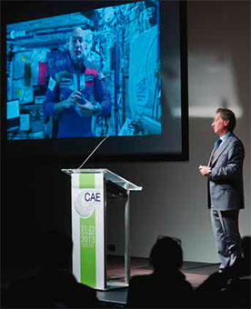 An exciting moment of the Conference: the connection with the Italian astronaut